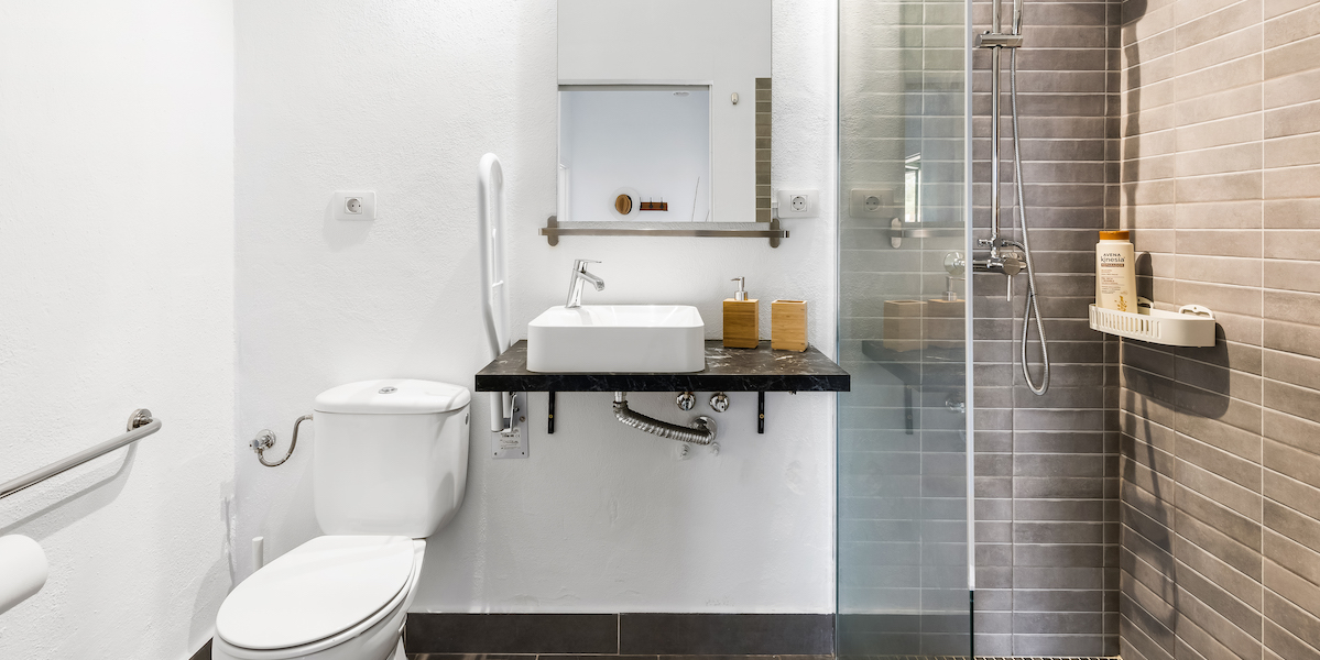 Seabreeze apartment in Tenerife Hamlet adapted bathroom for wheelchair users