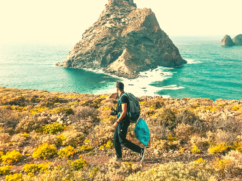 Sustainable travel means watch your step when you're out hiking.