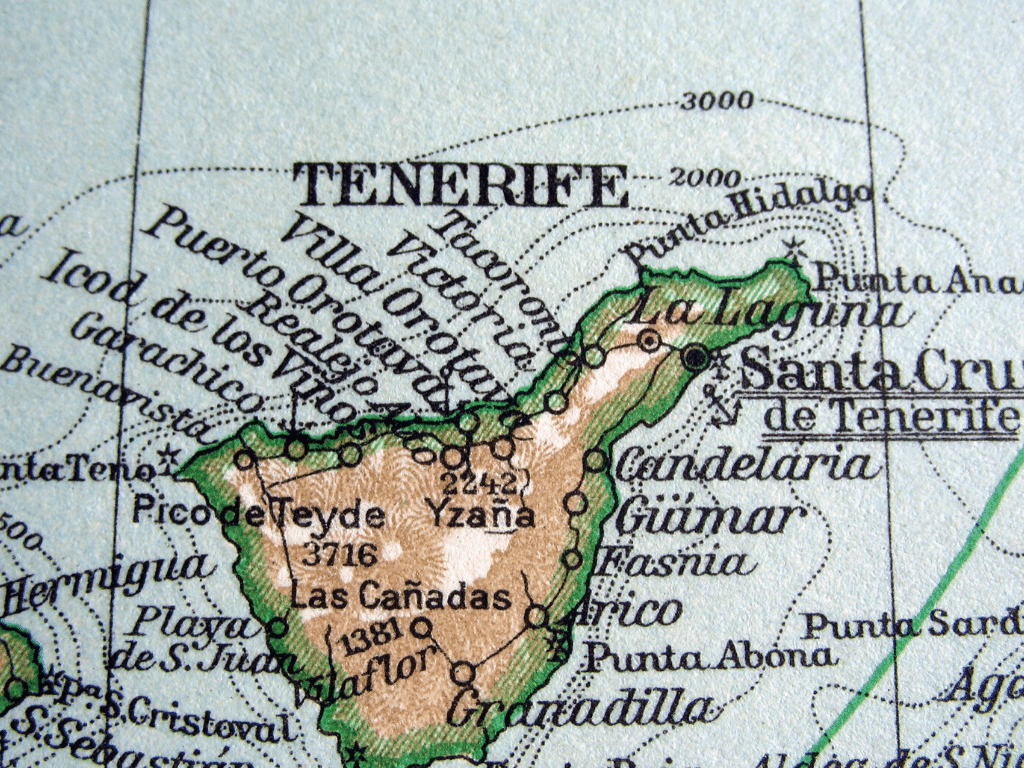 How is Tenerife divided into north and south?